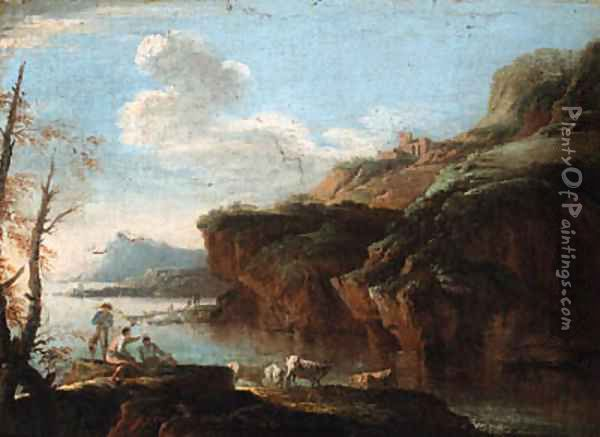 A coastal landscape with herdsmen on the shore Oil Painting - Salvator Rosa