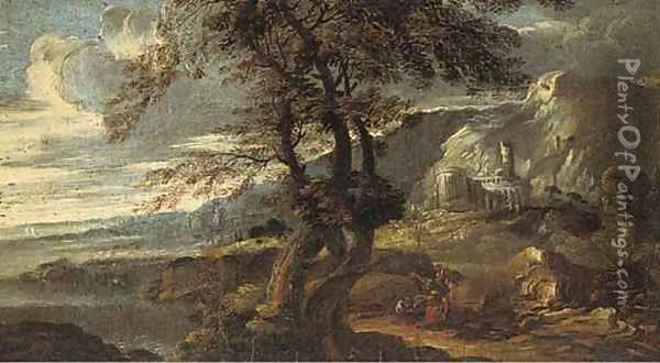 An extensive coastal landscape with classical ruins and figures at rest Oil Painting - Salvator Rosa