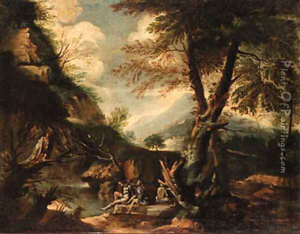 A wooded Italianate landscape with banditti on an outcrop Oil Painting - Salvator Rosa