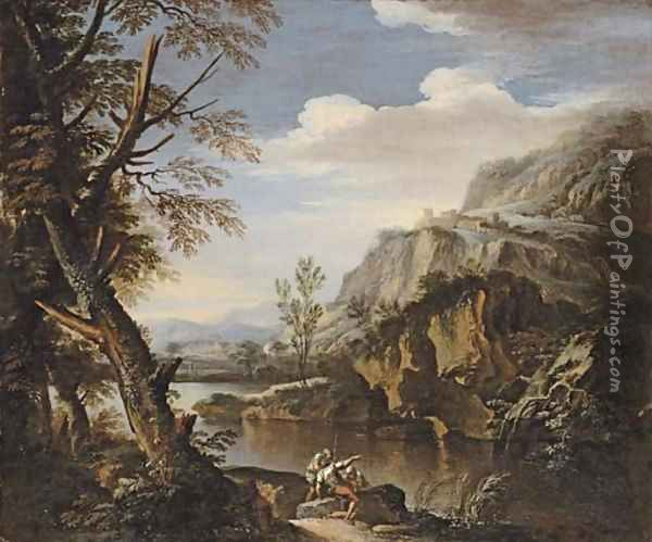 A mountainous wooded landscape with soldiers on a river bank Oil Painting - Salvator Rosa