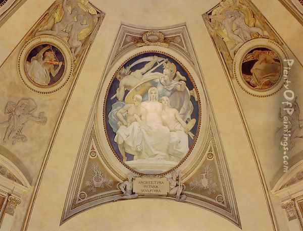 Architecture Painting And Sculpture Protected By Athena From The Ravages Of Time Oil Painting - John Singer Sargent