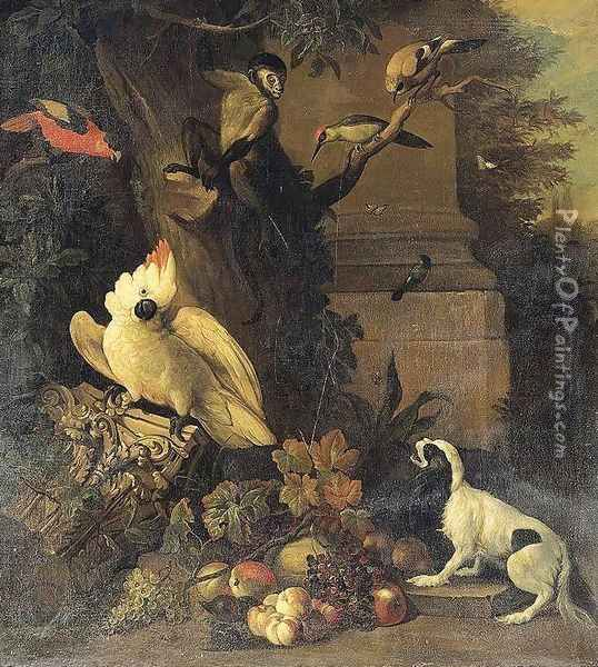A Monkey, a Dog and Various Birds in a Landscape Oil Painting - Tobias Stranover