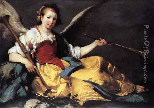 A Personification of Fame Oil Painting - Bernardo Strozzi