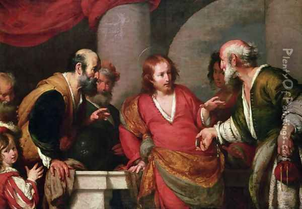 Christ in the Temple with Money Lenders Oil Painting - Bernardo Strozzi