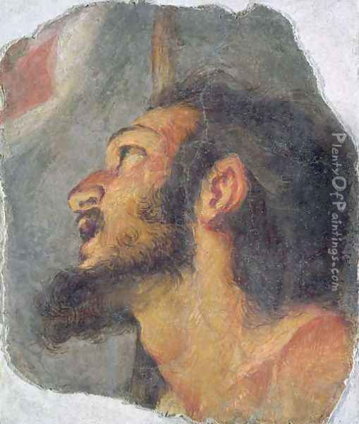 The Head of St. John the Baptist, fragment from a fresco Oil Painting - Bernardo Strozzi