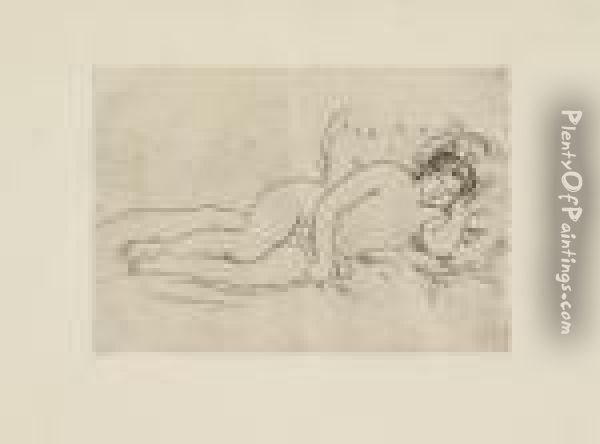 Femme Nue Couchee (tournee A Droite), 2nd State Oil Painting - Pierre Auguste Renoir