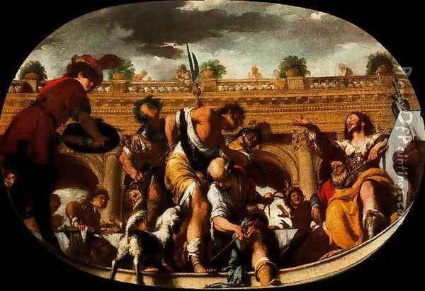 The Parable of the invited unworthy Oil Painting - Bernardo Strozzi