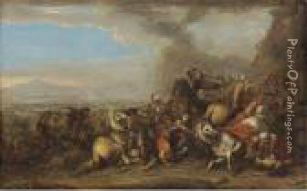 A Cavalry Skirmish In An Extensive Valley Landscape Oil Painting - Salvator Rosa