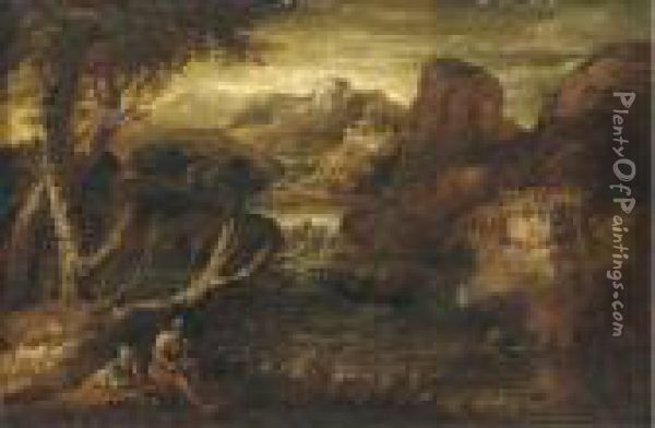 A Mountainous River Landscape With Two Soldiers At Rest Oil Painting - Salvator Rosa