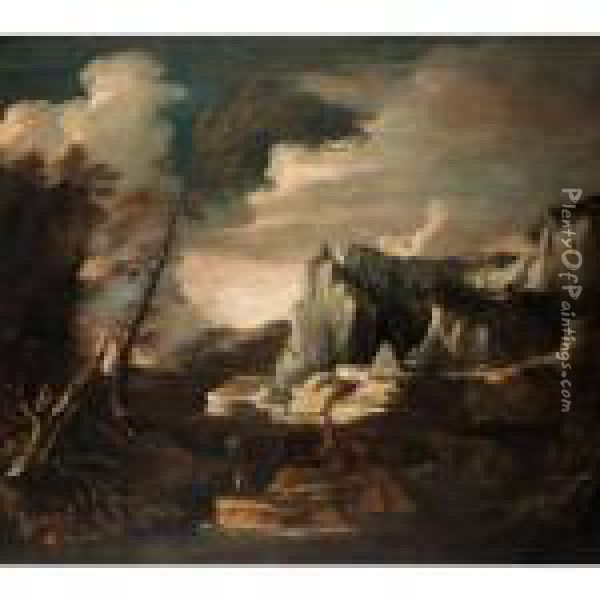 Extensive River Landscape With Fishermen In The Foreground, A Pyramid Beyond Oil Painting - Salvator Rosa