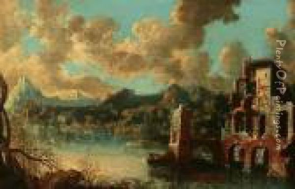 Ruins By River Oil Painting - Salvator Rosa