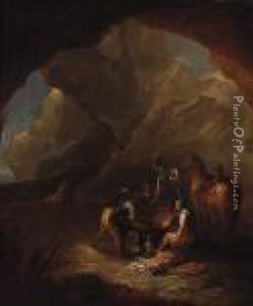 Brigands Distributing Loot In A Cavern Oil Painting - Salvator Rosa