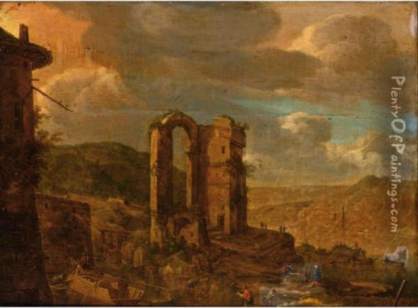 A Rhenish River Landscape With Figures And Their Boats Near A Ruin Oil Painting - Herman Saftleven