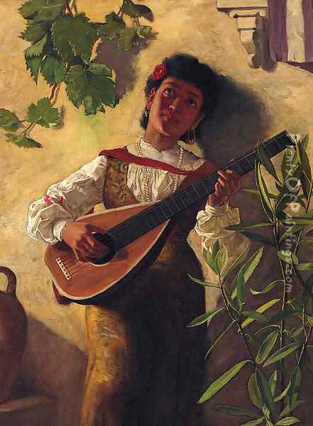 The Serenade Oil Painting - English School