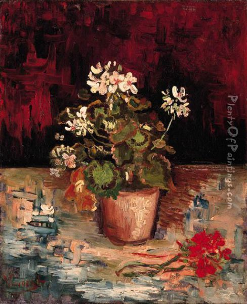 Nature Morte: Pot De Granium Oil Painting - Vincent Van Gogh