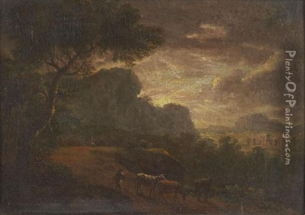 A Shepherd And Flock On A Wooded Country Path By Moonlight Oil Painting - Herman Van Swanevelt
