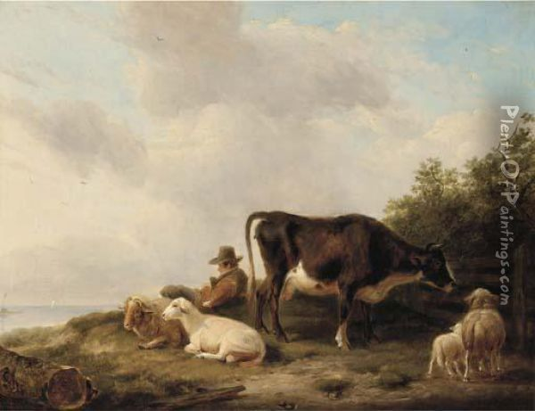 A Drover And His Flock On A Hillside Oil Painting - Eugene Joseph Verboeckhoven