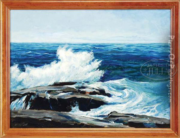 Coastal Scene Shows Wavescrashing Onto Coastal Rock Ledge Under A Light Blue Sky Oil Painting - Frederick Judd Waugh