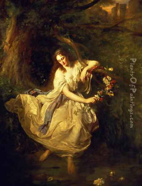Ophelia Oil Painting - Carl F. W. Trautschold