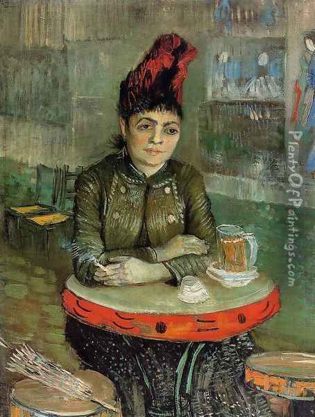 Agostina Segatori Sitting In The Cafe Du Tambourin Oil Painting - Vincent Van Gogh