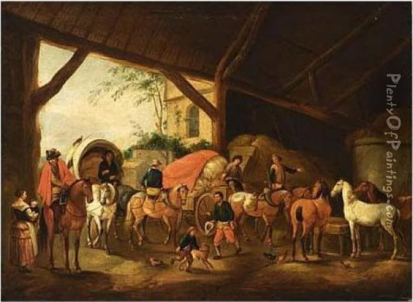 A Stable Interior With A Horse-drawn Carriage And A Horse-drawn Cart Oil Painting - Pieter Wouwermans or Wouwerman
