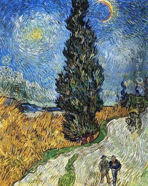 Cypress against a Starry Sky Oil Painting - Vincent Van Gogh