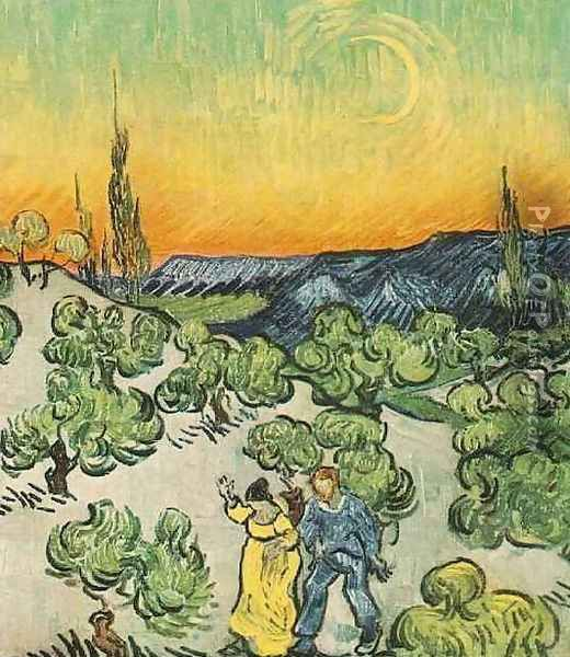 Landscape With Couple Walking And Crescent Moon Oil Painting - Vincent Van Gogh