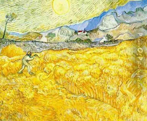 Wheat Field Behind Saint Paul Hospital With A Reaper Oil Painting - Vincent Van Gogh