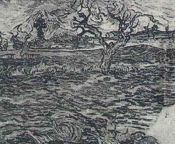 Landscape With Olive Tree And Mountains In The Background Oil Painting - Vincent Van Gogh