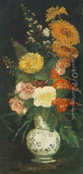 Vase With Asters Salvia And Other Flowers Oil Painting - Vincent Van Gogh