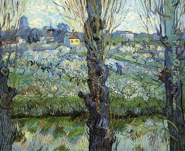 Orchard in Bloom with Poplars Oil Painting - Vincent Van Gogh