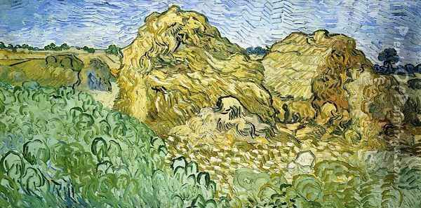 Field with Stacks of Wheat Oil Painting - Vincent Van Gogh