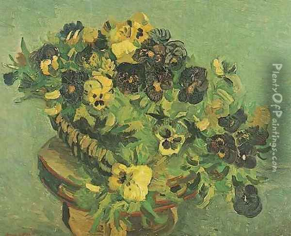 Tambourine With Pansies Oil Painting - Vincent Van Gogh