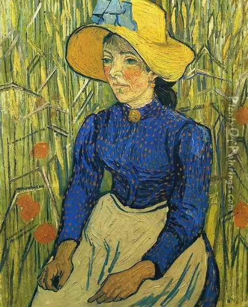 Peasant Girl with Yellow Straw Hat Oil Painting - Vincent Van Gogh