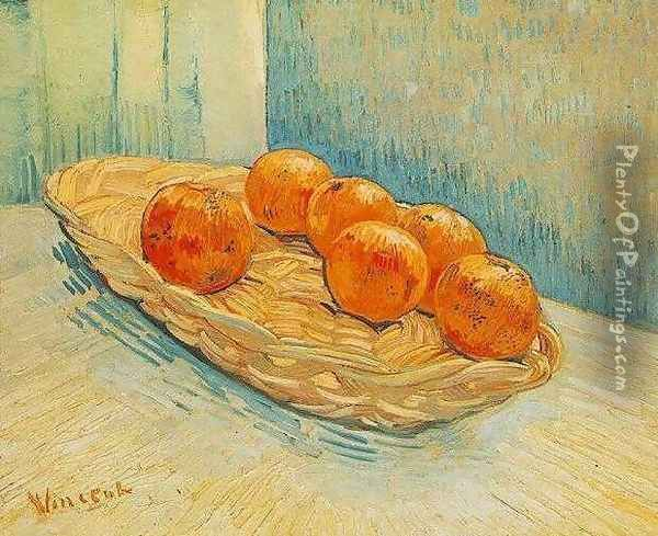Still Life With Basket And Six Oranges Oil Painting - Vincent Van Gogh