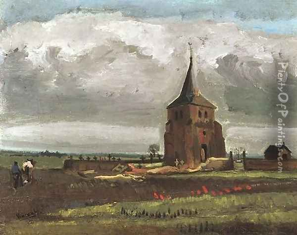 The Old Tower At Nuenen With A Ploughman Oil Painting - Vincent Van Gogh