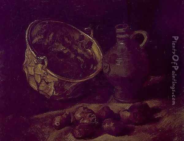 Still Life With Brass Cauldron And Jug Oil Painting - Vincent Van Gogh
