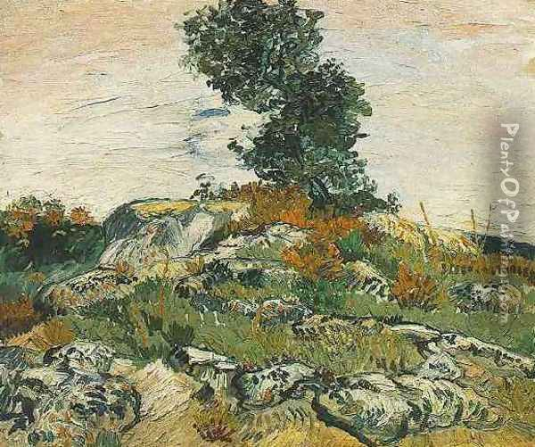 Rocks With Oak Tree Oil Painting - Vincent Van Gogh
