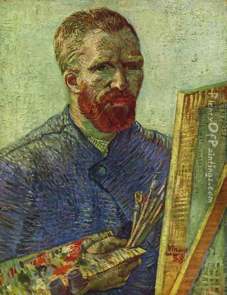 Self Portrait while painting Oil Painting - Vincent Van Gogh