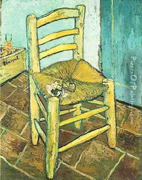 Vincents Chair With His Pipe 1888 Oil Painting - Vincent Van Gogh