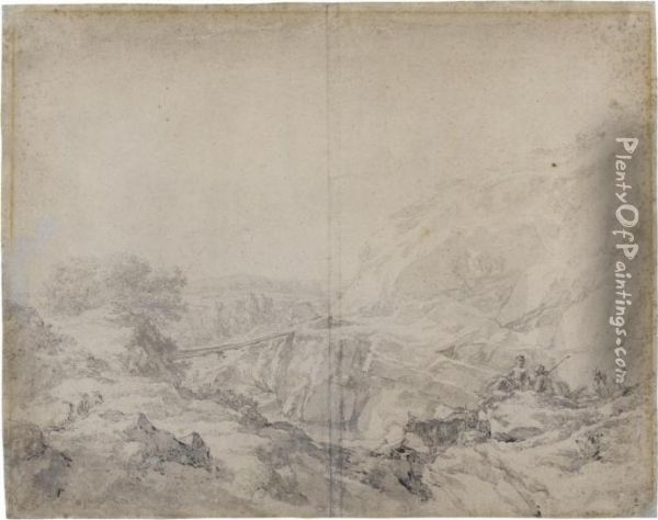 Mountainous Landscape With Herders And Animals In The Foreground Oil Painting - Nicolaes Berchem