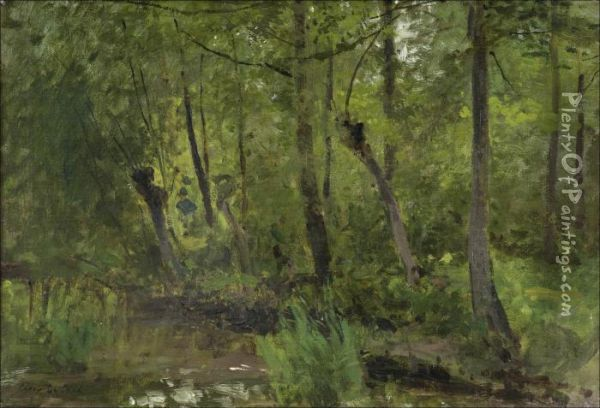 Forest Pond Oil Painting - Cesar De Cock