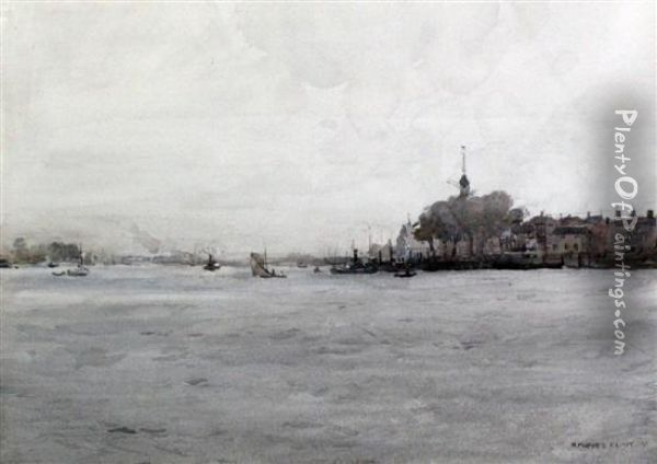A Grey Day On The Maas Oil Painting - Robert Purves Flint