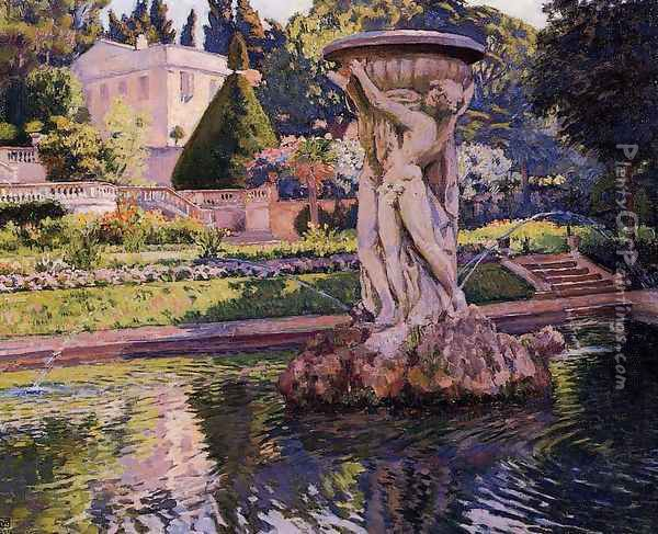 Garden with Villa and Fountain Oil Painting - Theo van Rysselberghe