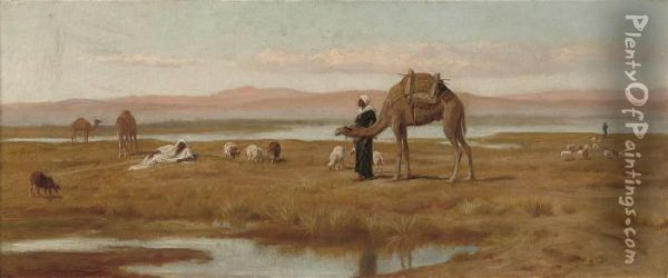 Arab Shepherds Grazing Their Flocks Oil Painting - Frederick Goodall