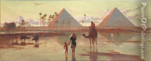 The Pyramids At Gizeh Oil Painting - Frederick Goodall