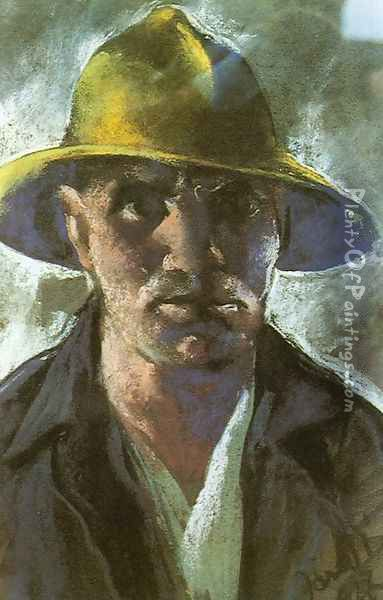 Self-portrait with Yellow Hat 1927 Oil Painting - David Jandi
