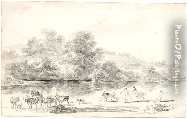 River Landscape With Herdsmen And Their Cattle Oil Painting - Nicolaes Berchem
