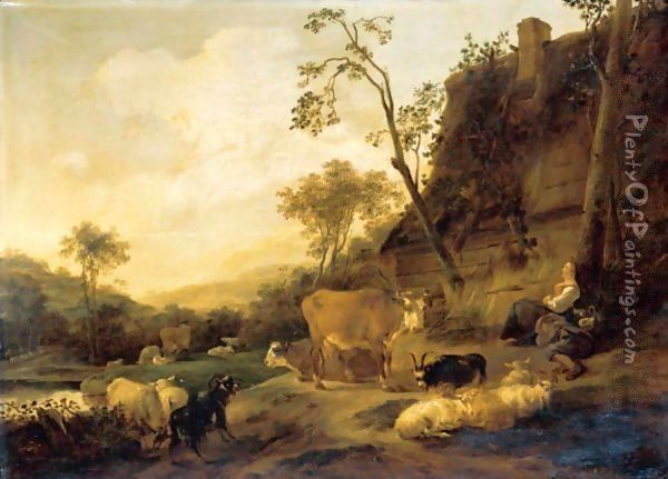 An Italianate Landscape With Figures And Their Animals Beside A Cottage Oil Painting - Nicolaes Berchem