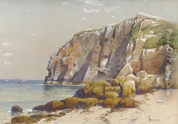Cliffs On The Coast Oil Painting - Alfred Thompson Bricher